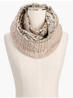 Talbots Faux-Fur and Cable Infinity Scarf