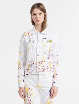 Calvin Klein paint splatter denim jacket
