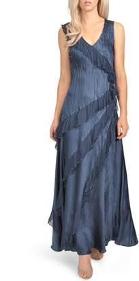Komarov Asymmetrical Ruffle Charmeuse Gown with Wrap