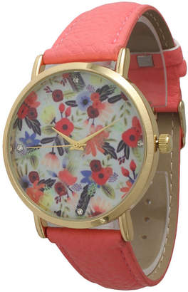 OLIVIA PRATT Olivia Pratt Womens Gold-Tone Multi-Color Floral Print Dial with Coral Leather Strap Watch 14181