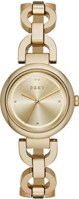 DKNY Women Eastside Gold-Tone Stainless Steel Chain Bracelet Watch 30mm