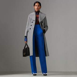 Burberry Herringbone Wool Blend Tailored Coat