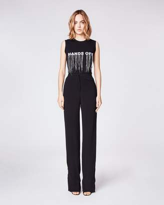 Nicole Miller Crinkle Satin Back Crepe High Waisted Pant