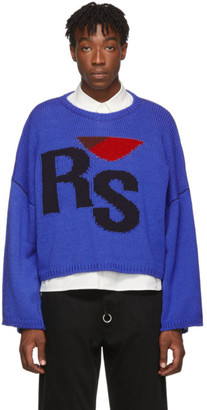 Raf Simons Blue Wool Cropped Oversized RS Sweater