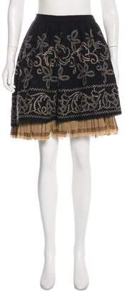 Martin Grant Embroidered Wool Knee-Length Skirt