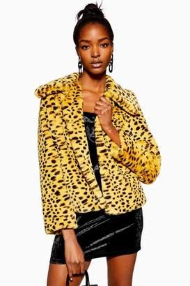 Topshop Womens Cheetah Print Faux Fur Coat