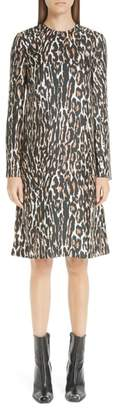 Calvin Klein Leopard Print Silk Twill Shift Dress