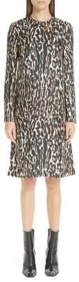 Calvin Klein Leopard Print Silk Twill Shift Dress