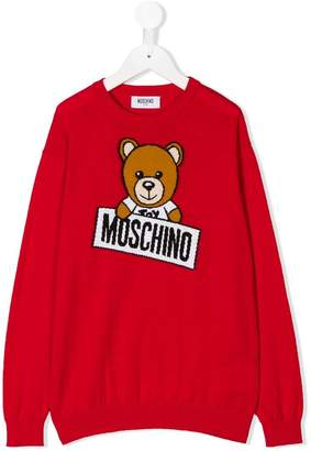 Moschino Kids teddy bear intarsia sweater