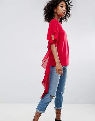 Asos T-Shirt with Dramatic Assymetric Woven Ruffle