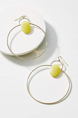 Anthropologie Tumbled Stone Hooped Drop Earrings