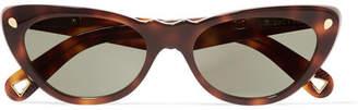 Cat Eye Lucy Folk - Slice Of Heaven Cat-eye Tortoiseshell Acetate And Gold-tone Sunglasses - Brown