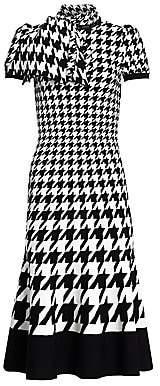Alexander McQueen Women's Houndstooth Fit-&-Flare Silk Midi Dress