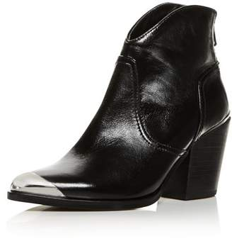Aqua Women's Pose Pointed-Toe Leather Mid-Heel Booties - 100% Exclusive