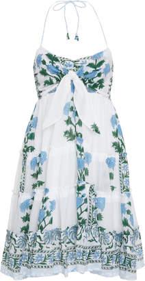 Juliet Dunn Tie-Front Printed Cotton-Voile Halterneck Dress