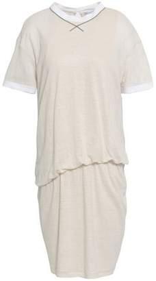 Brunello Cucinelli Gathered Slub Linen And Silk-blend Jersey Mini Dress