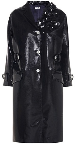Miu Miu Miu Miu Embellished faux-leather coat