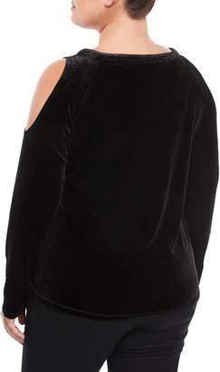 P. Luca Plus Cold-Shoulder Side-Zip Velvet Tee, Plus Size