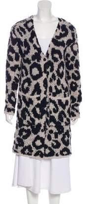 Amiri Leopard Wool-Blend Cardigan w/ Tags
