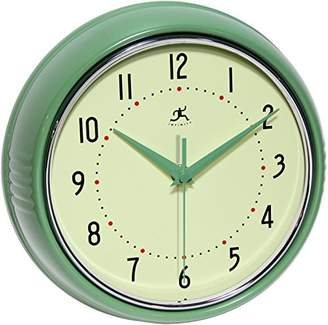 Infinity Instruments Retro 9-1/2-Inch Round Metal Wall Clock
