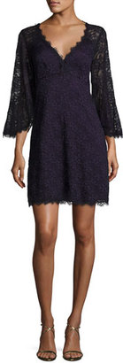 Nanette Lepore Bell-Sleeve Floral Lace Mini Dress, Eggplant $398 thestylecure.com