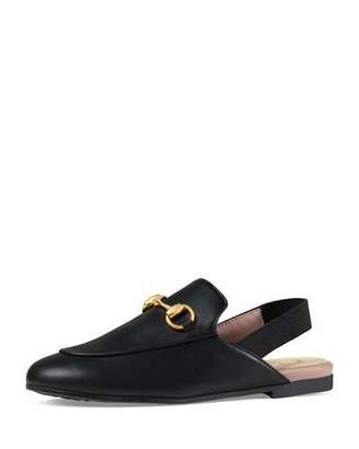 Gucci Princetown Junior Leather Horsebit Mule Slide, Toddler/Youth Sizes 10T-2Y