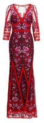 Marchesa Floral Lace Gown