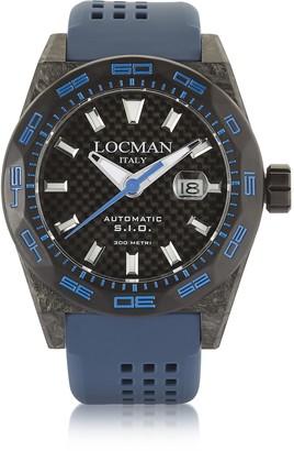 Locman Stealth 300 mt Automatic Black Carbon Fiber and Titanium Case w/Blue Silicone Strap Mens Watch