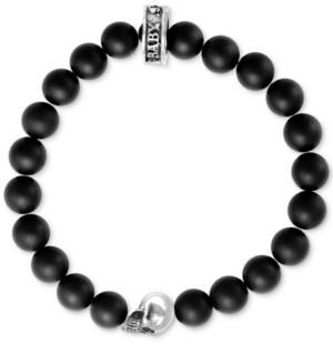 King Baby Studio Black Lava Rock Beaded Stretch Bracelet in Sterling Silver