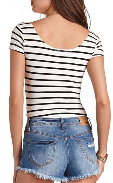 Charlotte Russe Double Scoop Short Sleeve Striped Bodysuit