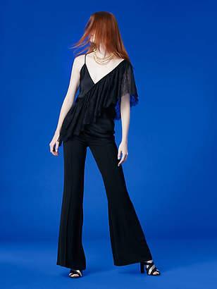 Diane von Furstenberg Asymmetric Sleeve Ruffle Lace Top