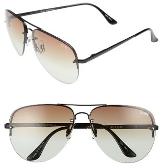 Women's Quay Australia Muse Fade 62Mm Aviator Sunglasses - Black/ Brown Fade Lens $60 thestylecure.com