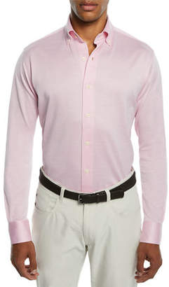 Peter Millar Men's Solid Mesh Jersey Sport Shirt