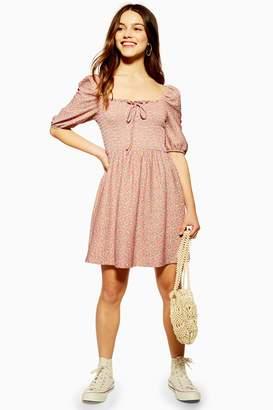 Topshop Womens Petite Shirred Mini Dress - Blush