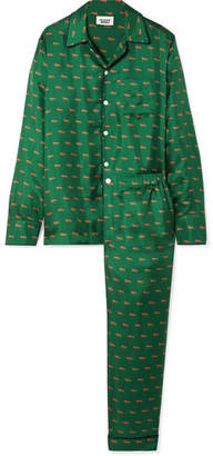 Sleepy Jones - Henry Printed Silk-satin Twill Pajama Set - Dark green