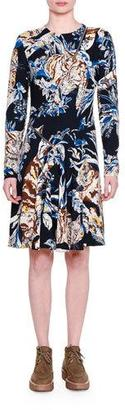 Stella McCartney Long-Sleeve Cat-Print A-Line Dress, Ink $1,445 thestylecure.com