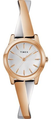 Timex Women's Stretch Bangle Crisscross25mm Rose Gold-Tone Watch, Expansion Band