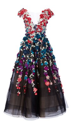 Marchesa Floral Embroidered Tea Length Gown $5,995 thestylecure.com