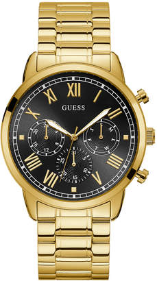 GUESS Women Gold-Tone and Black Stainless Steel Multi-Function Watch, 44mm