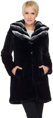Dennis Basso Faux Fur Coat with Removable Hood and Collar