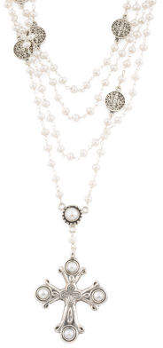 Handmade In India Sterling Silver And Pearl Rosary Necklace