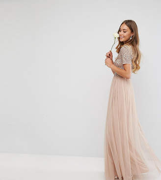 Maya Tall V Neck Maxi Tulle Dress with Tonal Delicate Sequins
