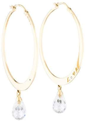 M2 Design by Mary Margrill 14K Diamond & Topaz Love Hoop Earrings