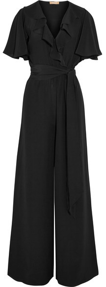 Michael Kors Collection - Ruffled Silk-crepe Jumpsuit - Black