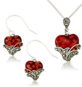 Lord & Taylor Heart Pendant Necklace and Earrings Set