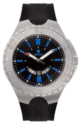 "Croton Men's ""Super C"" Quartz Watch with Black Dial & Blue Markers & Silicon Strap"