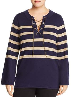 MICHAEL Michael Kors Striped Chain-Lace-Up Top