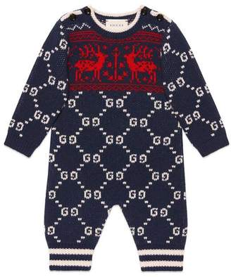 Gucci Baby GG reindeers wool overall