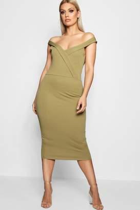 boohoo Plus Off Shoulder Midi Dress