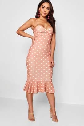 boohoo Polka Dot Ruffle Hem Midi Dress